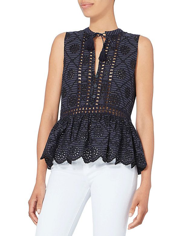 Sea Eyelet Pinstriped Embroidered Top