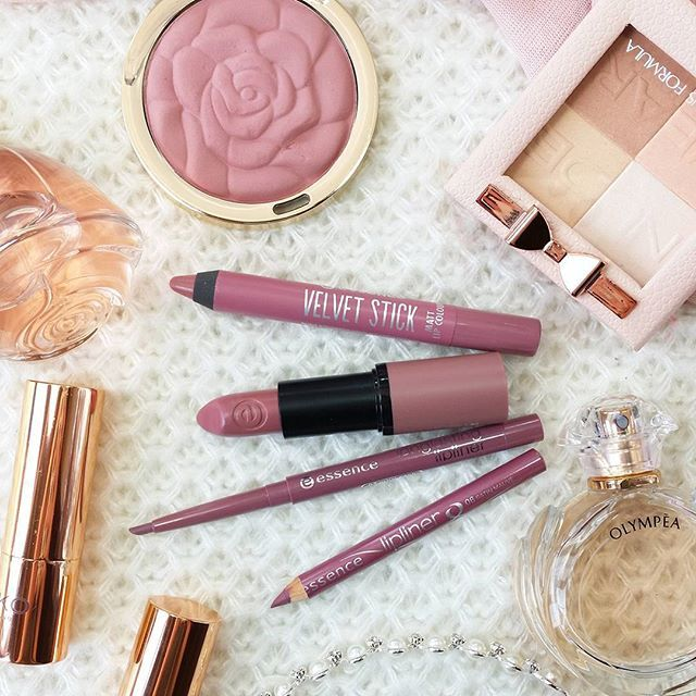 Budget mauve lip products . All Essence: Velvet Stick 02 Peony Star, Longlasting…