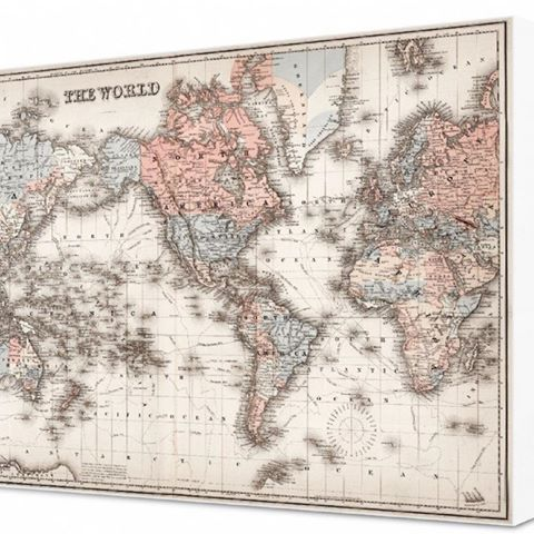 A gorgeous antique style map of the world, printed on canvas and framed in white. Dimensions: 93x65cm. Shop in store or online via the link in our bio! ✨🌏