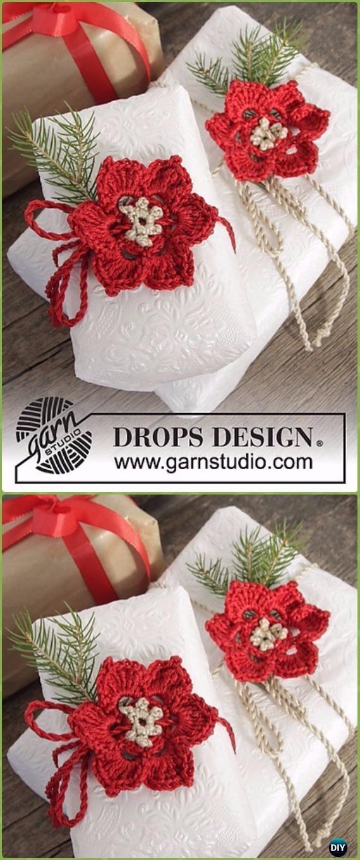 CrochetPoinsettia Gift Wrap Topper Free Pattern - Crochet Poinsettia Christmas Flower Free Patterns