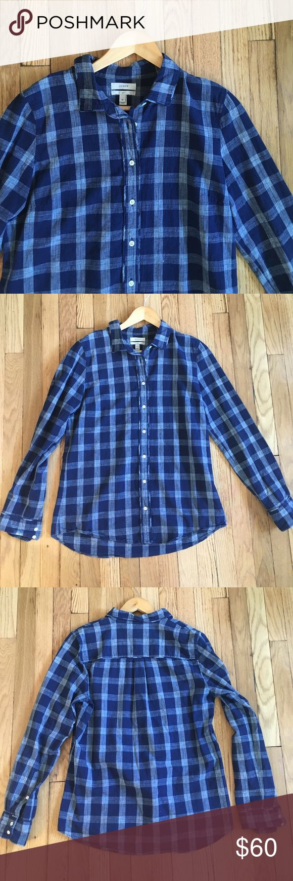 "J. Crew Boy Shirt Blue Hash Check Cotton Size 10 J. Crew Boy Shirt Blue Hash Check 100% Cotton. Button Front, long sleeve. Size 10, measures 20.5"" armpit to armpit, 26.5"" shoulder to hem, 25"" sleeve. Perfect condition. No trades; bundle discount available! J. Crew Tops Button Down Shirts"