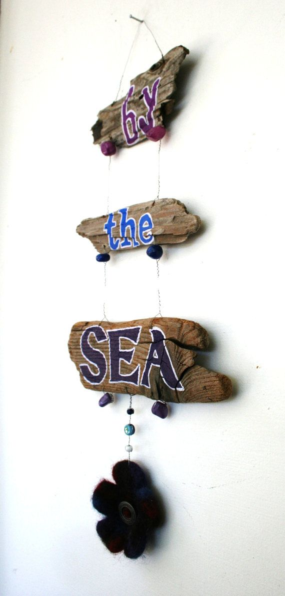By the Sea Driftwood Art in ocean blues and by SusterWoodworks, $32.00