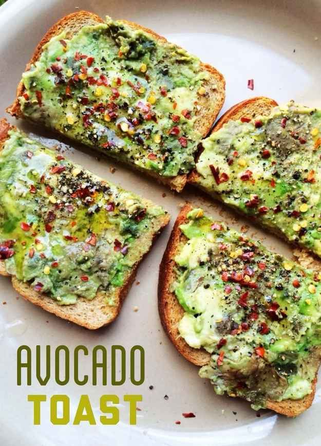 Avocado Toast | 17 Power Snacks For Studying (seasonings: pepper, red pepper flakes, and lemon)