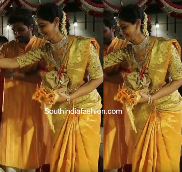sneha reddy saree in sreeja wedding 600x565 photo