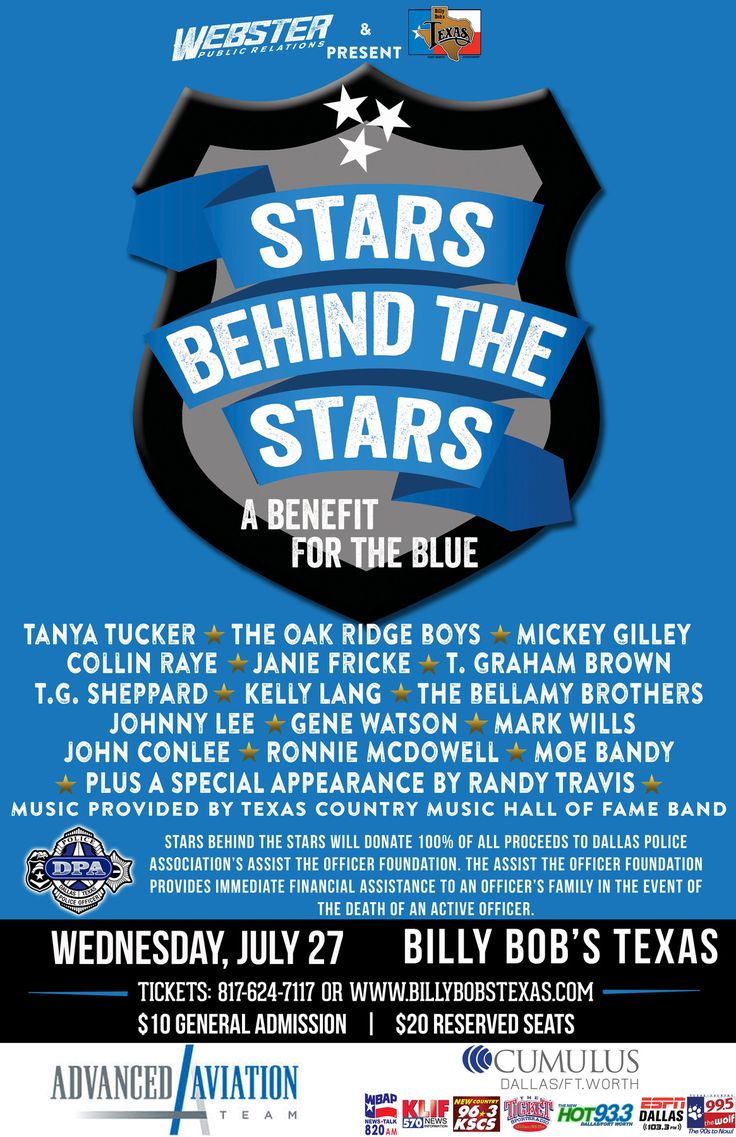"A star-studded group of country music superstars will come together on Wednesday, July 27 at the world's largest Honky Tonk, Billy Bob's in Fort Worth, for a special benefit ""Stars Behind The Stars"" to raise money for the ""Assist The Officer Foundation."" As of now the lineup is very impressive: Tanya Tucker, The Oak Ridge Boys, Mark Wills, Collin Raye, Janie Fricke, T.G. Sheppard and his wife Kelly Lang, The Bellamy Brothers, T. Graham Brown, Johnny Lee, Gene Watson, John Conlee, Ronnie…"