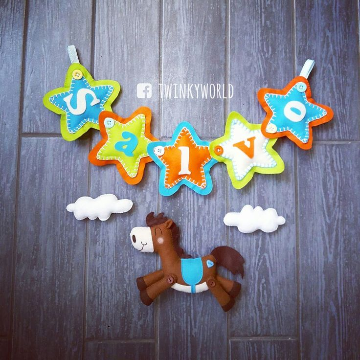 Felt garland - Baby Name - Salvo with horse - name banner
