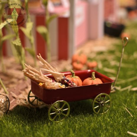 Miniature Wagon with Pumpkins and Corn