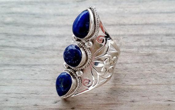 Lapis Lazuli Ring  Blue Lapis Ring   Bohemian by HimalayanTreasure