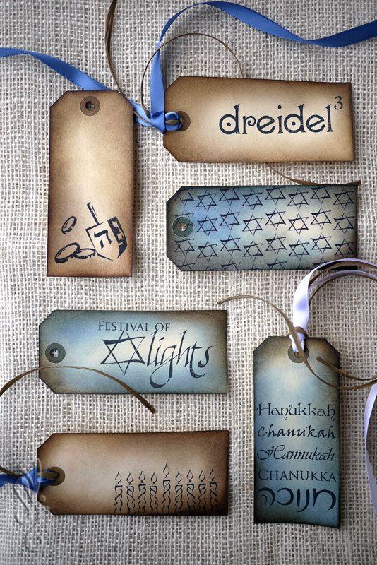 Hanukkah Gift Tags - Hand Inked Vintage Set of 6 Tags w/ Ribbon & Raffia. $8.00, via Etsy.