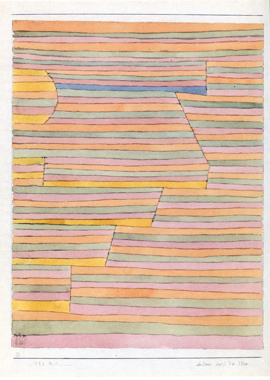 """Paul Klee """"Die Sonne streift die Ebene"""","""