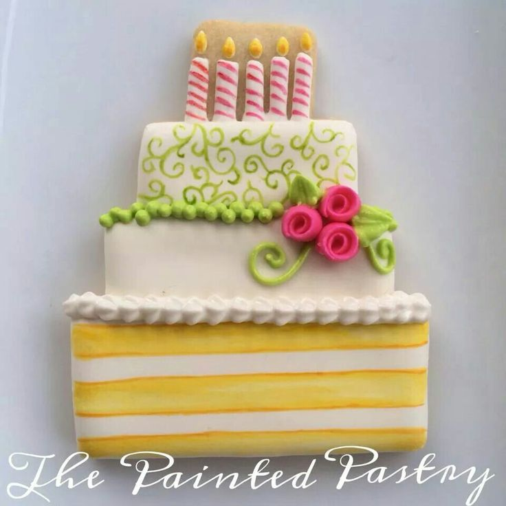 Birthday Cake Cookie~ By The Painted Pastry, White