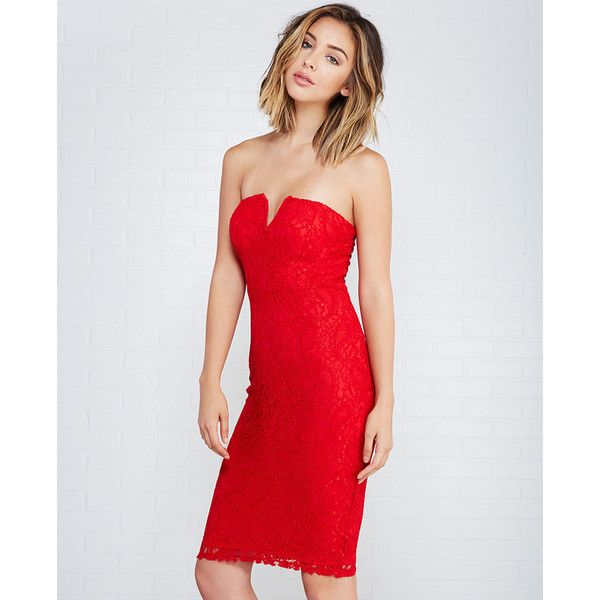 Wet Seal Sweetheart Sheer Lace Bodycon Dress ($27) ❤ liked on Polyvore featuring dresses, red, going out dresses, strapless cocktail dress, night out dresses, party dresses and red cocktail dress