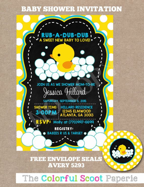 Rubber Duck Baby Shower Invitation Rubber by TheColorfulScoot