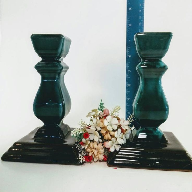 Blue mountain pottery candle holders set of two etsy