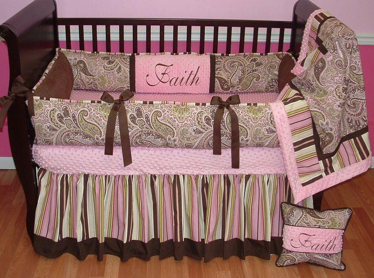 Avery Pink Paisley Crib Set This Custom Baby Crib Bedding