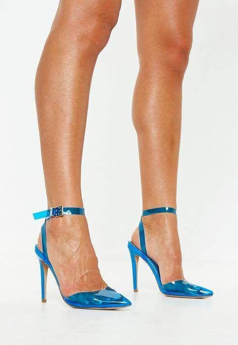 1b18d7d2250 Blue Clear Ankle Strap Court Shoes