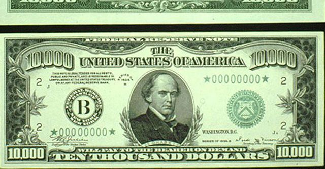 United States  I think this is a gawdy or showy display of the overindulgance of americans, when people can spend a $10,000 bill.   I think the United States chose this design to match previous designs of bills. also, to establish an acknowledgement of power in the country.