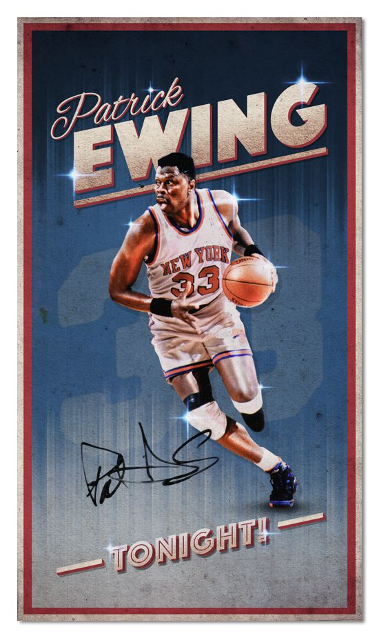 Patrick Ewing, New York Knicks. NBA legends tribute posters. Mixing vintage with modern style.