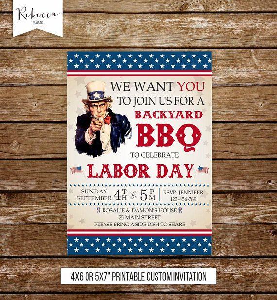 Labor day invitation labor day bbq invitation usa invitation labor day invite labor day birthday labor day party printable invitation usa by RebeccaDesigns22