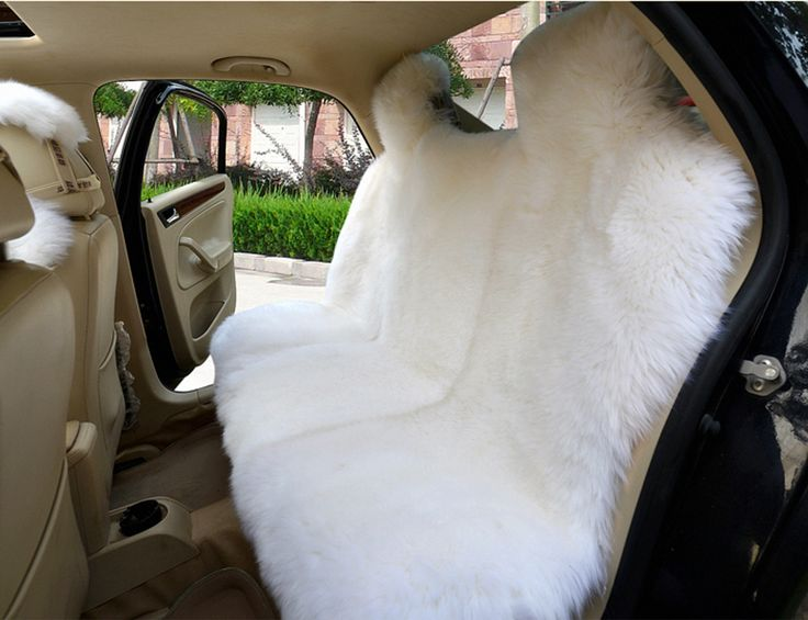 Genuine White Pelt Long Wool Sheepskin Fur Car Universal Fit Seat Cushion Cover Covers Ecological Tanning