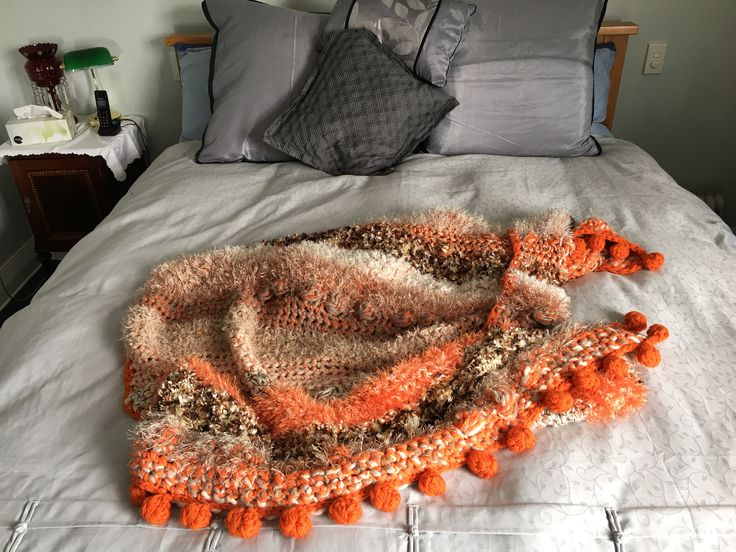 Crocheted Orange Throw