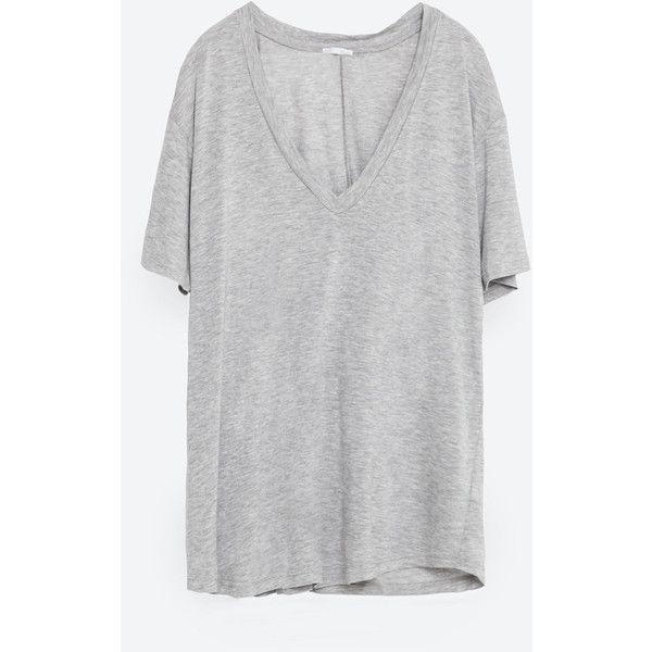 Zara Basic T-Shirt ($20) ❤ liked on Polyvore featuring tops, t-shirts, pearl marl, short sleeve tee, basic tee shirts, basic tshirt, short sleeve tops and short sleeve t shirt
