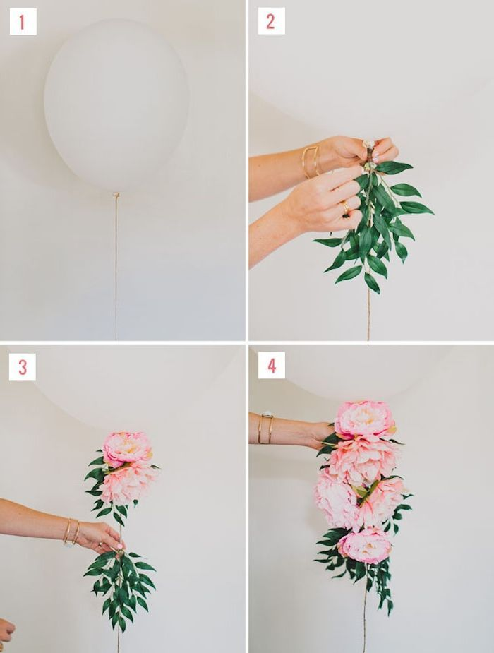 wedding deco to make yourself, a white balloon with flowered tail of peonies and …