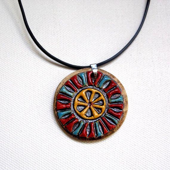 Hand made jewelry , Boho chick ceramic necklace pendant , Boho necklace…
