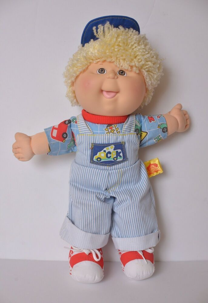 90s Cabbage Patch Kids Doll Toddler Collection Blonde Boy Blue Stripe Overalls Ebay Cabbage Patch Kids Patch Kids Cabbage Patch Kids Boy