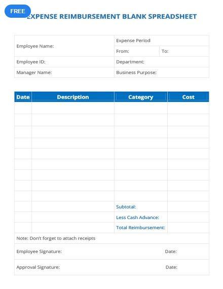 Expense Reimbursement Blank Spreadsheet Sheet Templates  Designs