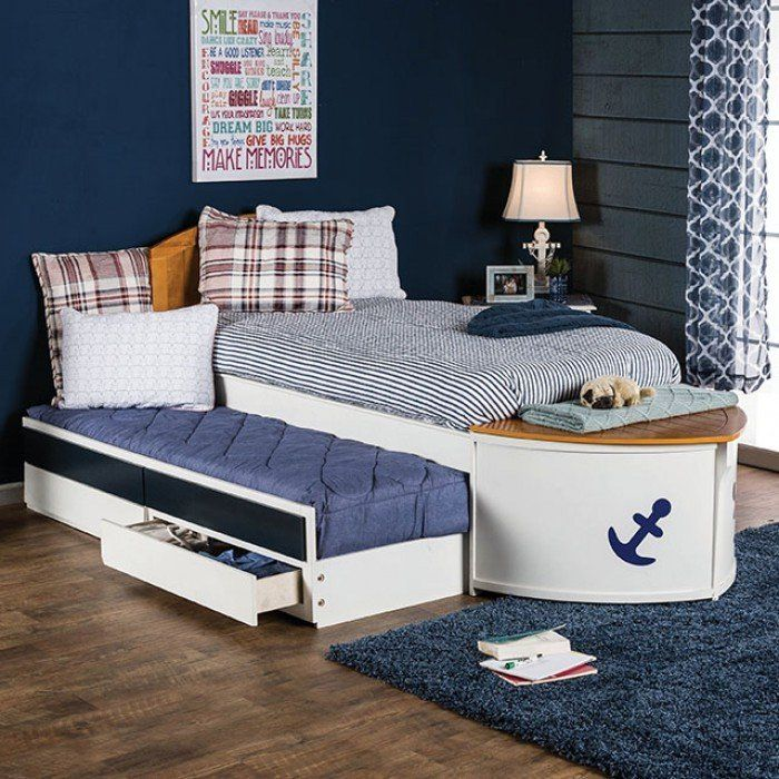furniture of america cm7768 voyager boat design multicolor white oak finish captain twin bed with 2