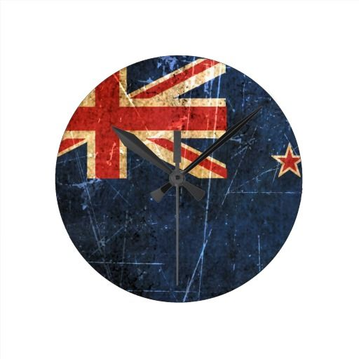 Scratched and Worn Vintage New Zealand Flag Round Wall Clock