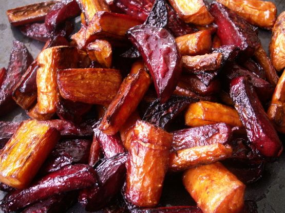 Caramelized and delicious.  Use organic whole carrots for better true-carrot flavor.  I use turbinado sugar because the crystals are bigger and they dissolve more slowly, which seems to lead to a better caramelized crust. I sometimes do a mix of half golden beets and half red beets - then when I serve them, I fan the veggies out on the platter in a rainbow:  golden beets, carrots, then red beets.  Pretty!