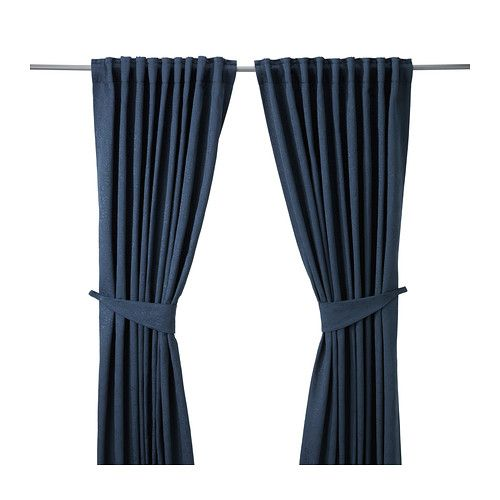BLEKVIVA Curtains with tie-backs, 1 pair   - IKEA These have a really pretty brocade on the material.  I also like the red, but Josh likes the blue. $35