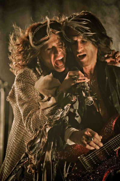 "Aerosmith's Steven Tyler & Joe Perry on the set of ""Legendary Child"" music video"
