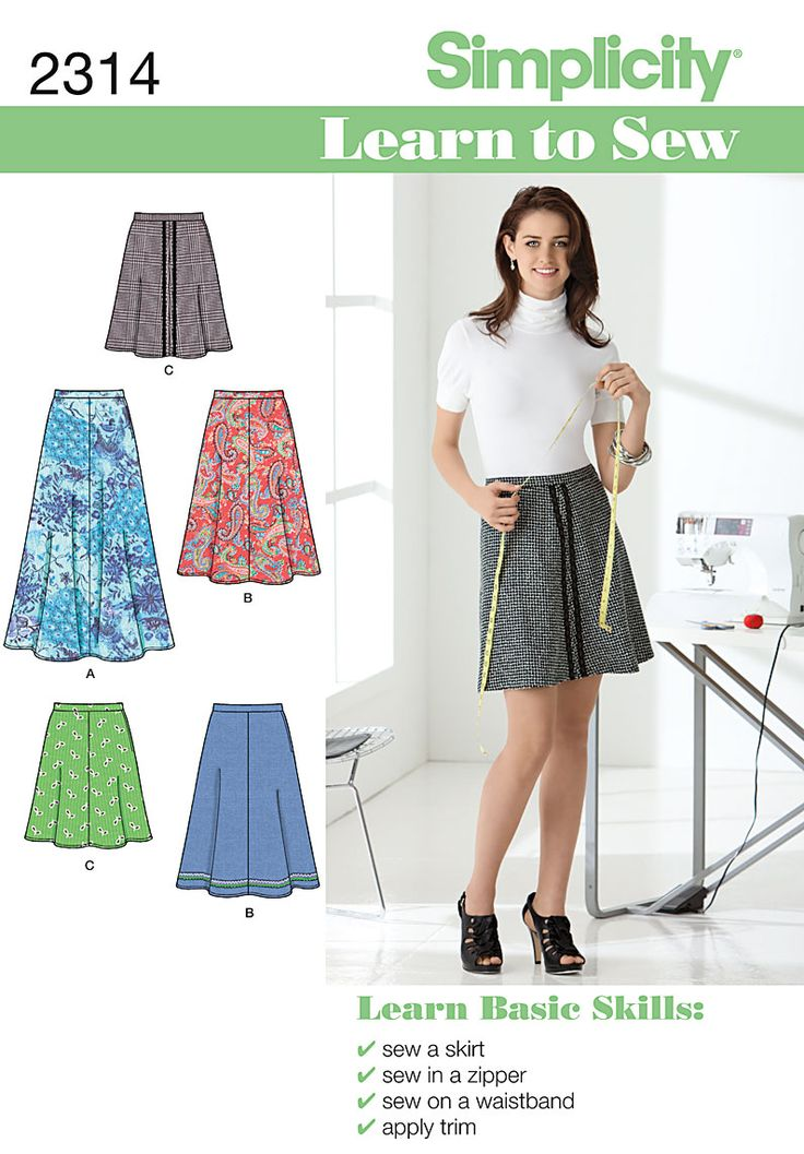 Learn to Sew skirt Easy Sewing Pattern 2314 SimplicityPattern 2314, Easy Skirts, Sewing Skirts, Learning To Sewing, Simplicity Sewing Patterns, Skirts Pattern, 618, Simplicity Patterns, Skirts Simplicity