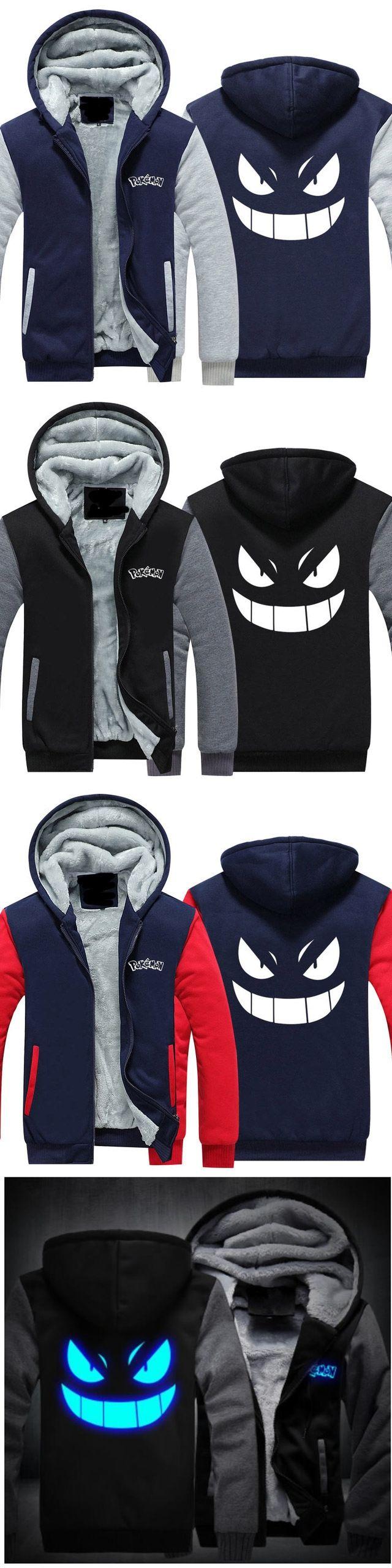 2018 Men Women Hoodies Pocket Monster Anime Gengar Pokemon Hip Hop Sweatshirts Zipper Fleece Tracksuits USA EU Size