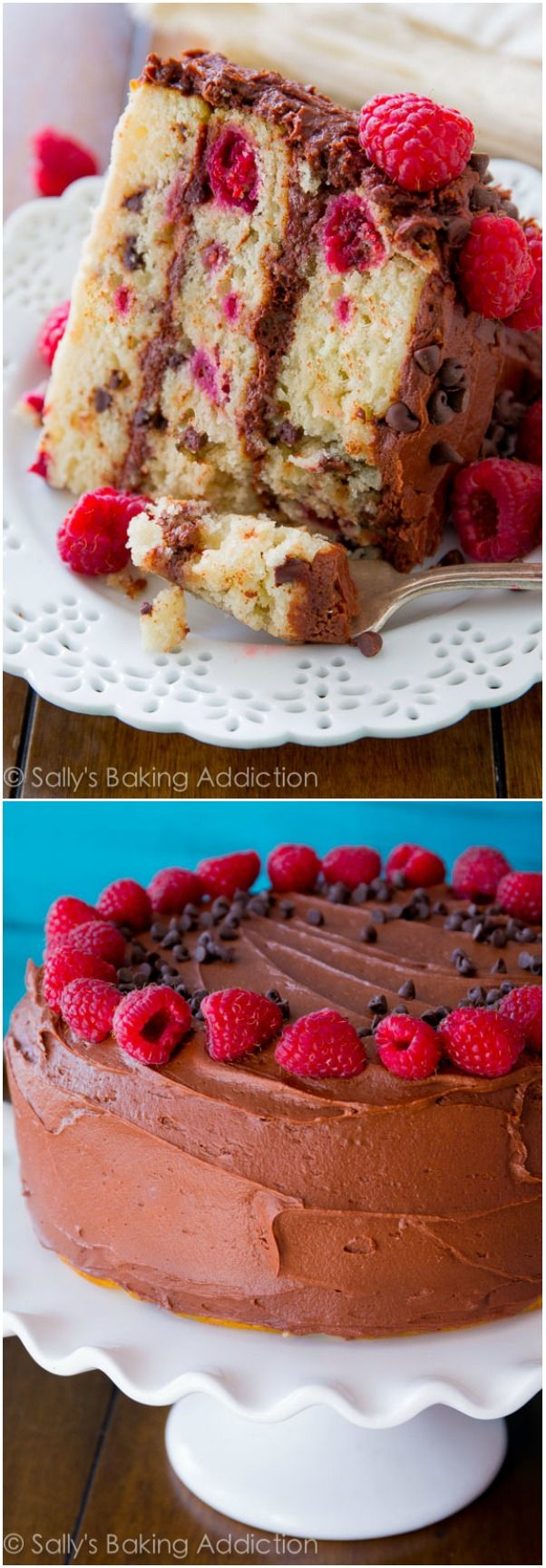 Super-moist chocolate chip layer cake with raspberries and the best chocolate frosting you'll ever make. Trust me!