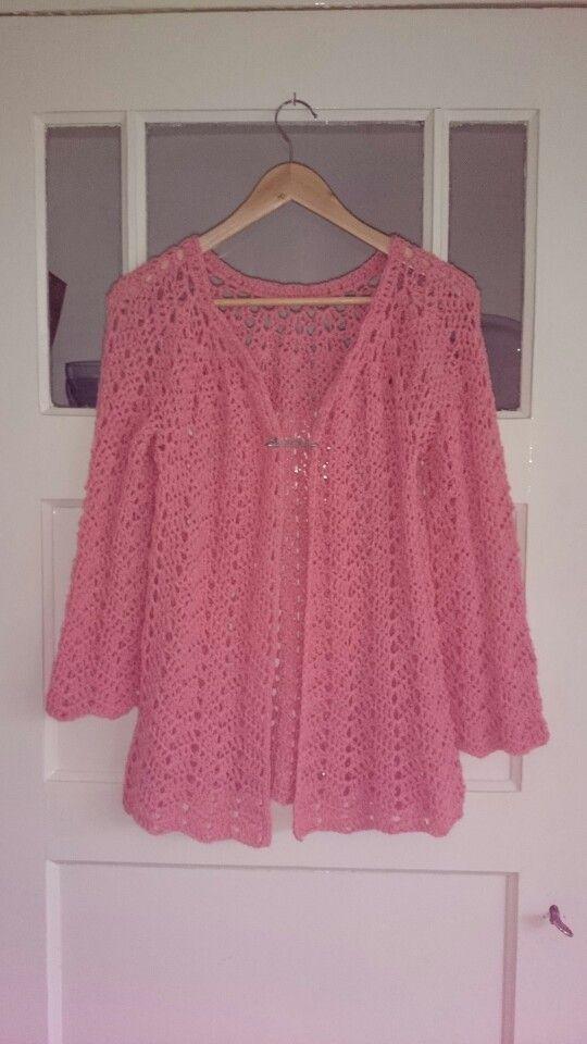 Chevron lace cardigan,  crochet.  Pattern found on ravelry