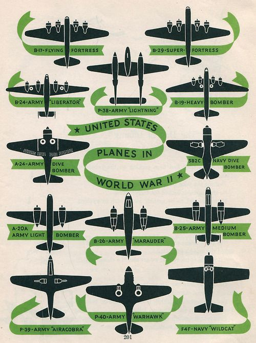 United States Planes in World War II. Illus by Herbert Townsend, from America, the Story of Our Country, 1951