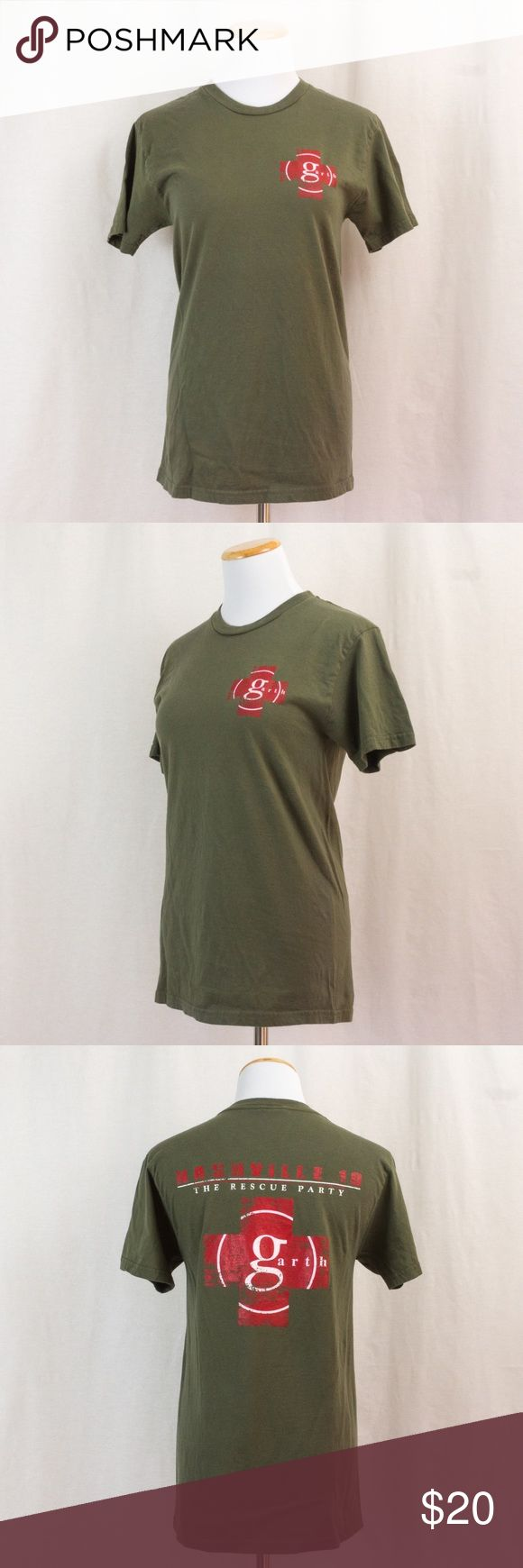 """Garth Brooks """"The Rescue Party"""" Tour T-Shirt In 2010, Garth went on his first tour in years. The concert sold out so quickly in Nashville that they decided have the show three nights in a row. This shirt is in great shape. Its grayish green in color. Adult size small. Tops Tees - Short Sleeve"""
