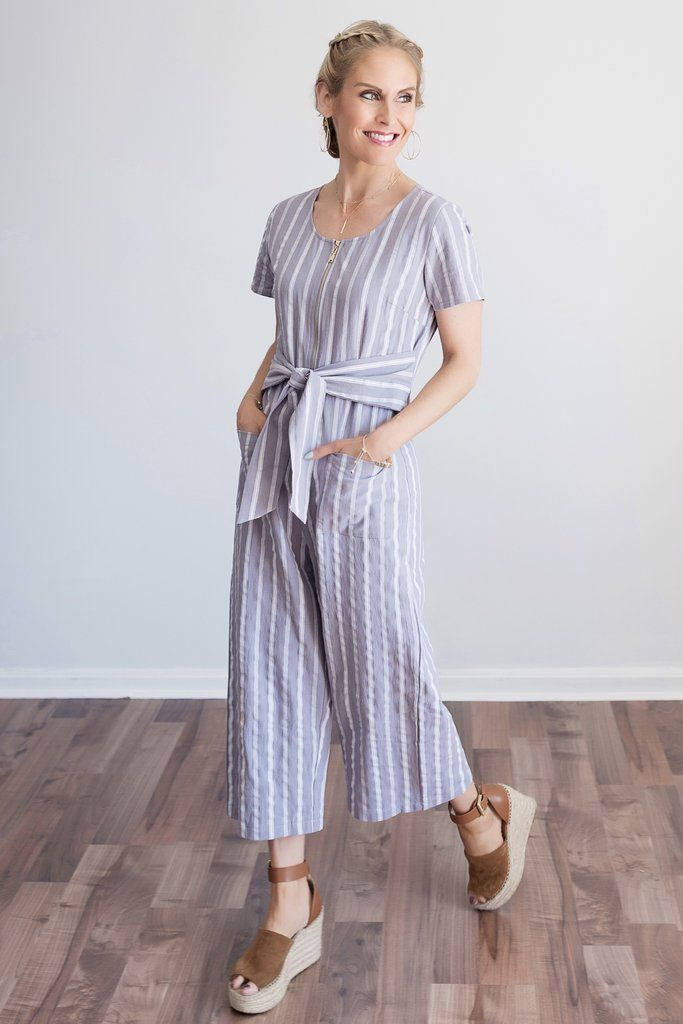 9406e1649509 Brielle Grey and White Striped Cropped Wide Leg Jumpsuit