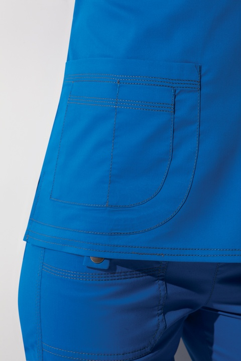 Dickies Scrubs in Blue | Detail of pockets and stitching