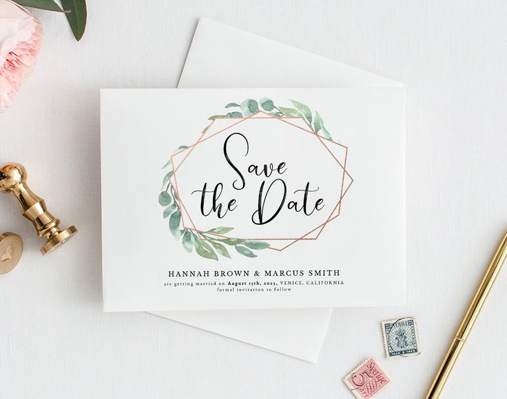 Greenery Save the date Card Rose Gold & Foliage • 100% Editable and easy to use • Watercolor Save the Date Card Geometric • Templett Wedding
