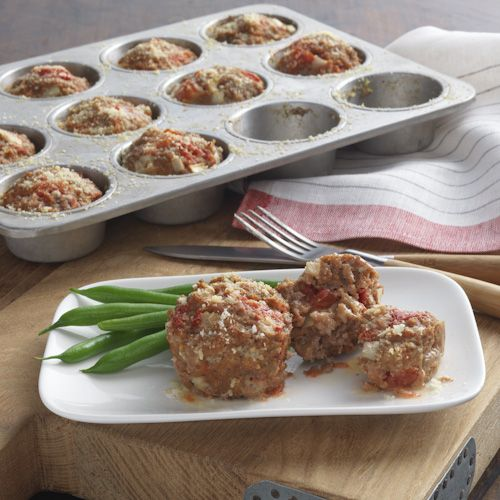 An individual meatloaf recipe with Hunt's Tomatoes and Kraft Parmesan added to the meat and  baked in muffin cups.    Recipe Source:  Kraft Foods, Inc.  Kraft® is a registered trademark of Kraft Foods, Inc.