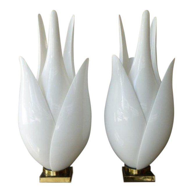 1970 S Vintage Roger Rougier Tulip Lamps A Pair P Chairish Tulip Lamp Lamp Vintage