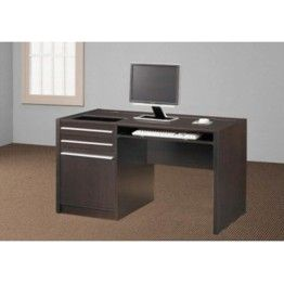 Computer table with a keyboard tray and an attached cabinet with 3 drawers  very well suits