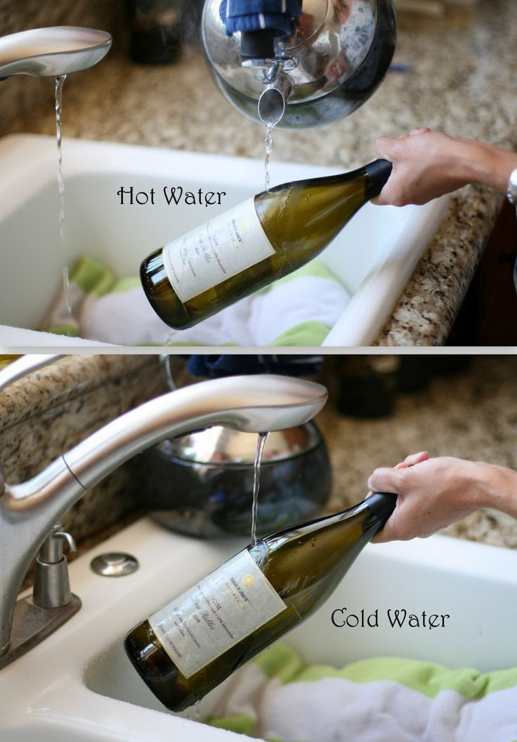 Cutting bottles and removing the label directions. Invite and Delight: DIY Wine Bottle Candles