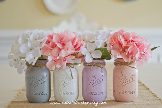 Set of 3 Quart Size Painted Mason Jars. Shabby by Kateslittleshop