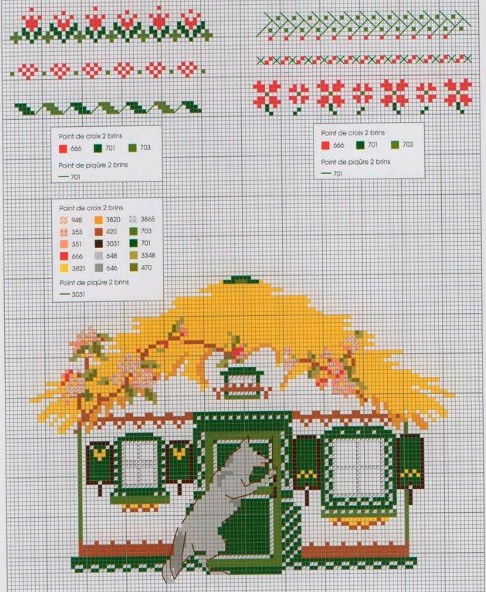 the wolf at grandma's cottage with flower patterns, cross stitch